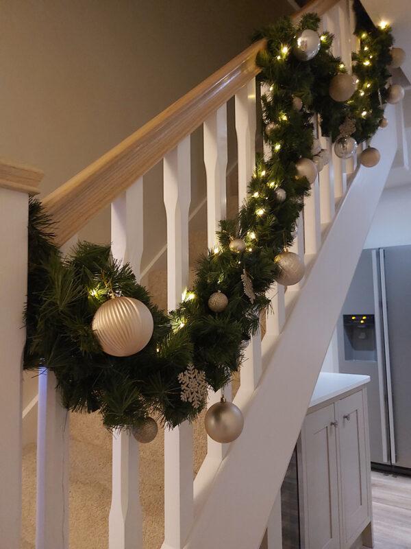 Interior Design Christmas Garland on Stairs