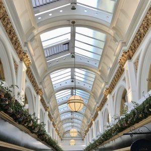 christmas garlands in queens arcade belfast