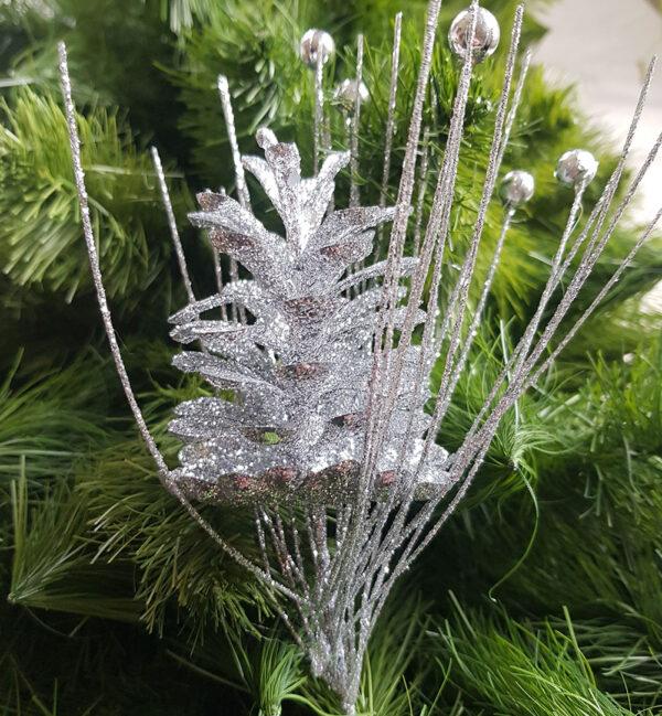 silver pine cone pick