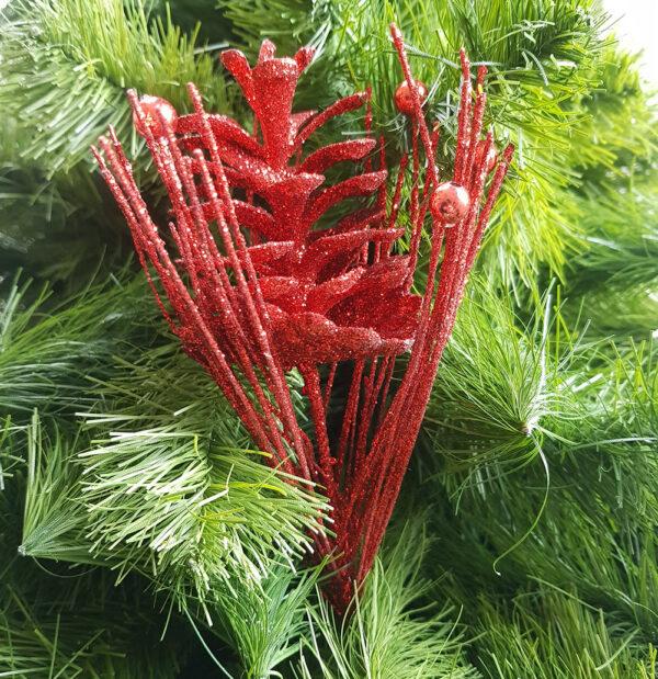 red glitter pine cone